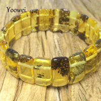 Yoowei Plant Green Amber Stretch Bracelet for Women Adult Luxurious Gift Unique Handmade Genuine Natural Amber Jewelry Wholesale