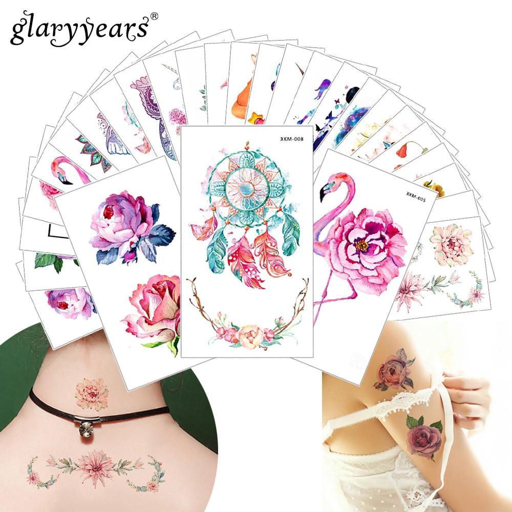 Glaryyears New Designs 1 Piece Flower Body Tattoo Temporary Waterproof Flamingo Henna Animals DIY Art Tattoo Sticker 2019 XKM