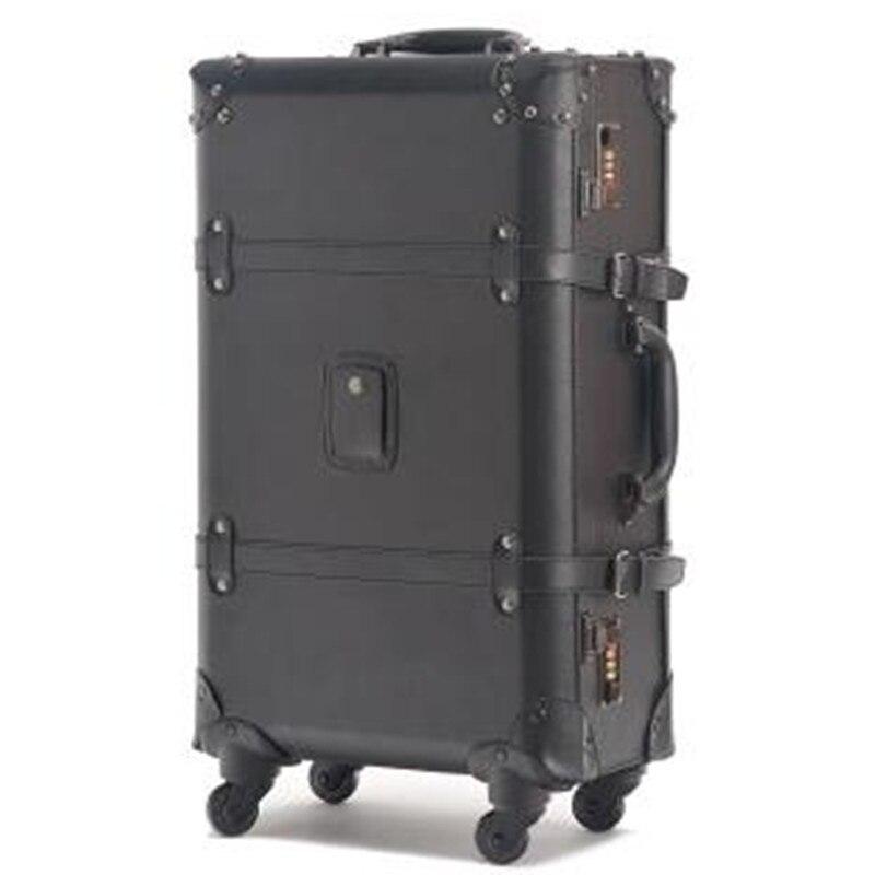 "KUNDUI New Women PU Vintage Luggage Travel Suitcase Bags Universal Wheels rivet Trolley Bag 22"" 24"" Rolling men Suitcase Sets"