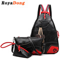 RoyaDong 2017 PU Leather Backpack Set Women Tassel Flowers Fashion Bag For Teenage Girls