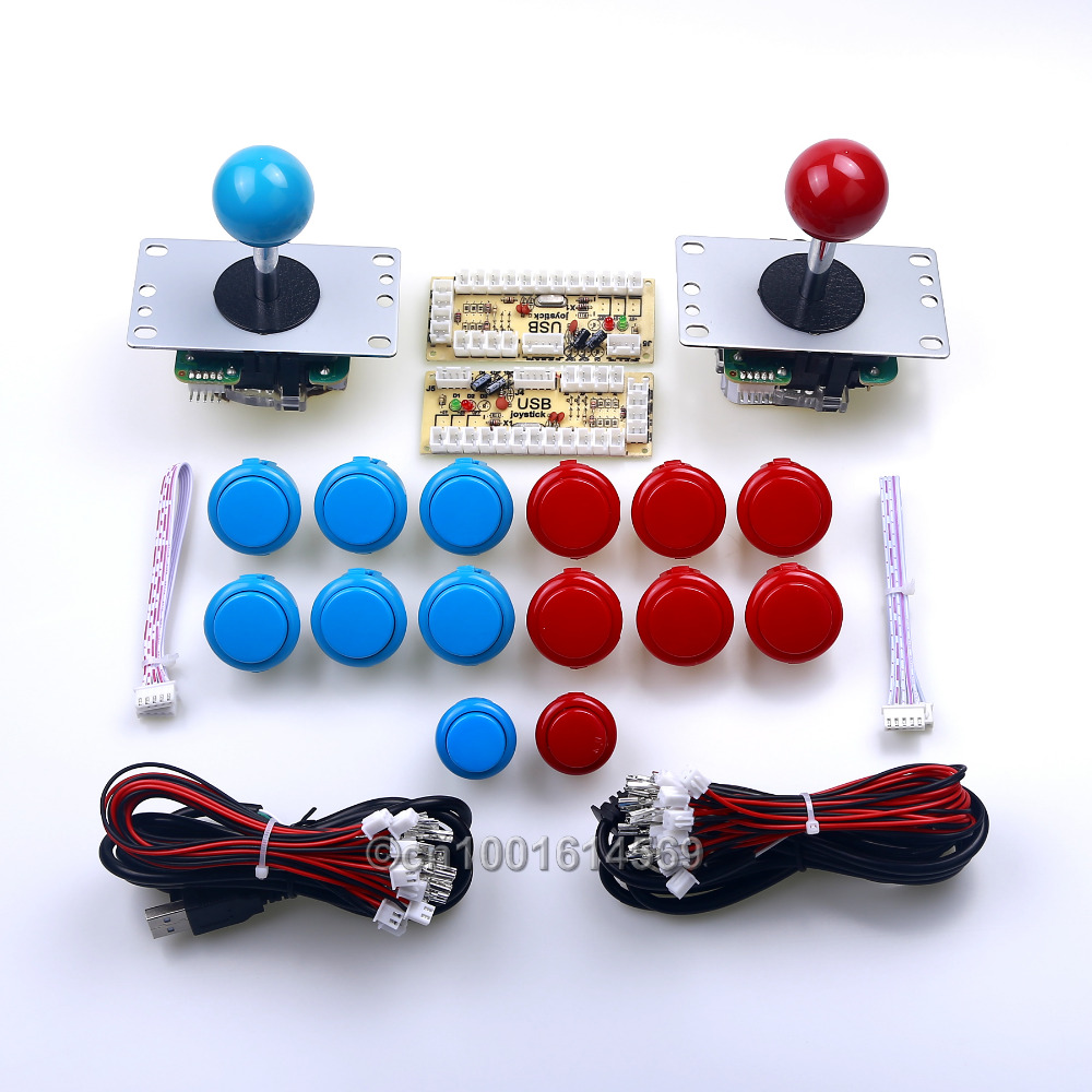 New Arcade DIY Kits Parts USB Encoders Board + 2x Sanwa Joysticks + Arcade Buttons To Raspberry PI Retropie 2 Project & PC Games