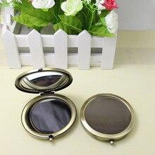 100 шт 70 мм бронзовое компактное зеркало металлический круг пустой макияж зеркало DIY рекламные подарки с логотипом