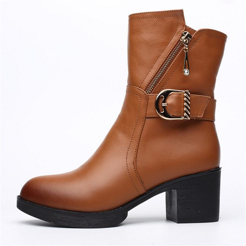 ФОТО women boots winter warm mid calf martin boots for women genuine leather casual shoes ladies zipper buckle motorcycle boot