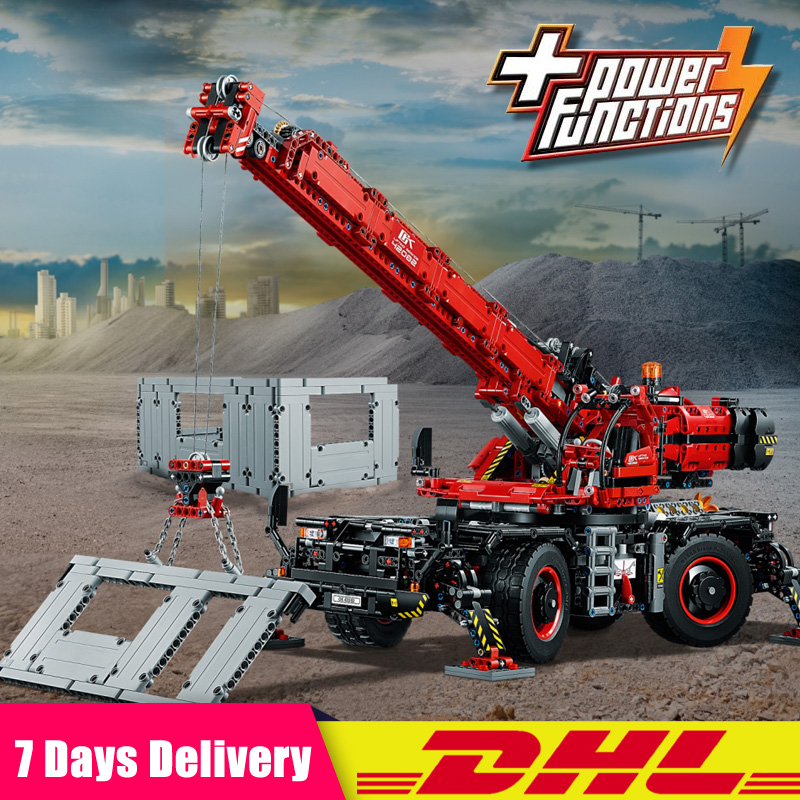 IN Stock Lepin 20085 Technic Rough Terrain Crane Compatible Legoing 42082 Building Blocks Bricks Toys With Battery Box lepin technic 20085 legoingly 42082 rough terrain crane model set building blocks bricks educational toys for children christmas