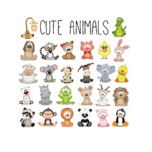 Clothing for Children Applications Set Cute Animal Sticker Iron on Patches DIY T-shirt Heat Transfer Vinyl Clothes Applique PSG
