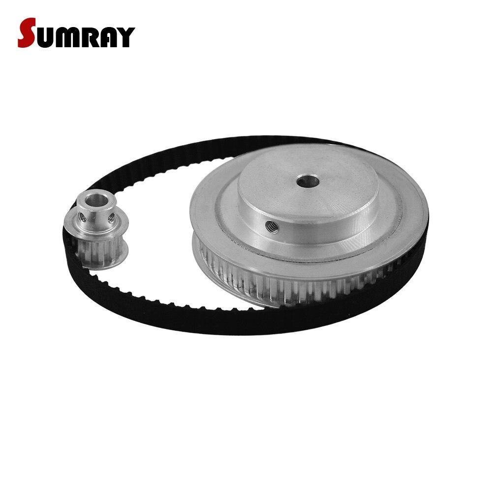 SUMRAY XL Timing Pulley Belt Set Reduction 1:5 XL 10T 50T 11mm Belt Width Bearing Pulley Wheel 144XL Timing Belt 1 SET