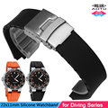 24x11mm Nature Silicone Soft Watchband Stainlesss Steel Folding Clasp Bracelet for Oris Diving Series Man Watch Strap+Free Tools