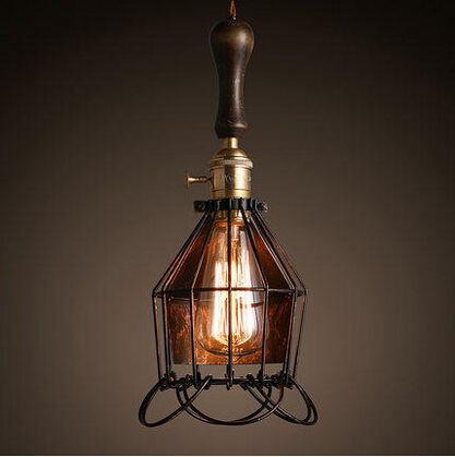 Edison Style Loft Industrial Pendant Light With Cage Lampshade For Bar Cafe Home Lighting Vintage Lamp Lamparas Colgantes dysmorphism iron vintage edison loft ceiling light industrial pendant cafe bar