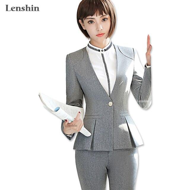 Lenshin 3 Piece Set Women Pant Suit Uniform Design Formal Style