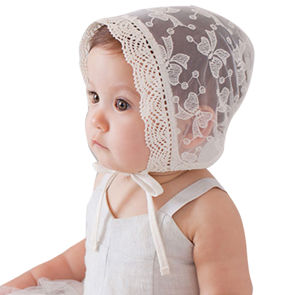 Kid Princess Girls Hat Beanie Convertible Lace Gauze Cap Flanging Sun Hat aa3487cb41d
