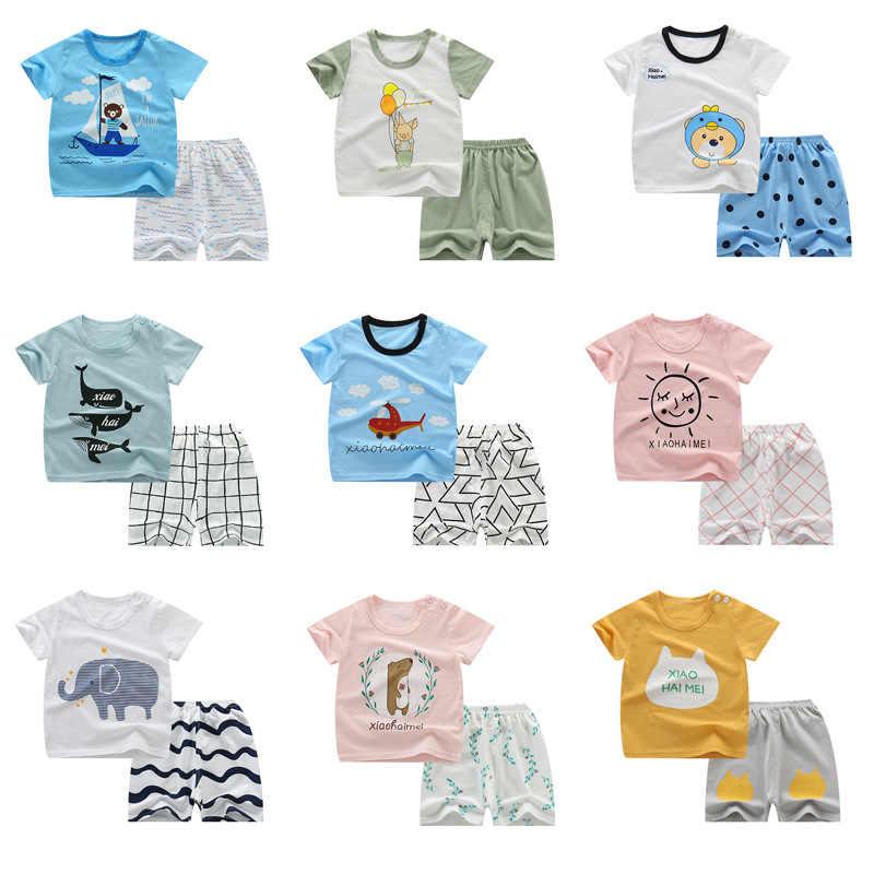 2019, nuevos conjuntos de manga corta para bebés, Tops y pantalones cortos de dibujos animados para niñas pequeñas, conjunto de ropa de algodón para niños de verano