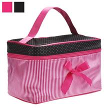 New Arrival2016 Square Bow Stripe Portable Cosmetic Bag Travel CosmeticsBag Trousse De Maquillage Necessaire Women Toiletry Kits