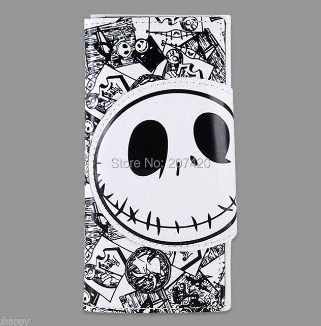 La pesadilla antes del tiempo de Navidad Burton's White Skull PU Monedero largo Regalo de cumpleaños