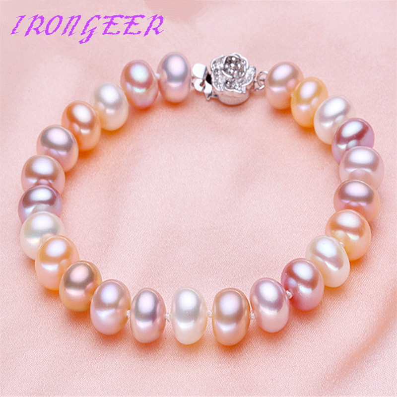High quality Mixed color Genuine 100% Natural Pearl Bracelet Fashion Sterling silver bracelets For women Free shipping