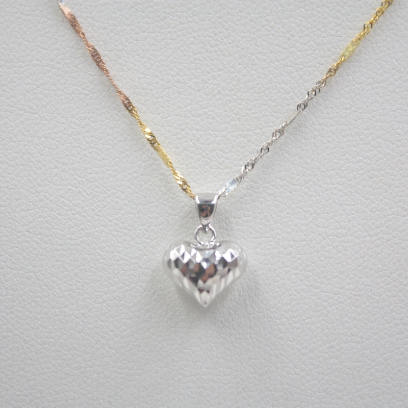 New Arrival Pure Au750 18K White Gold Women's Heart Pendant 1-1.3g Only Pendant