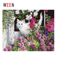 WEEN Cute Cat Diy Painting By Numbers Animal Oil On Canvas Flower Land Cuadros Decoracion Acrylic Wall Art Home Decor