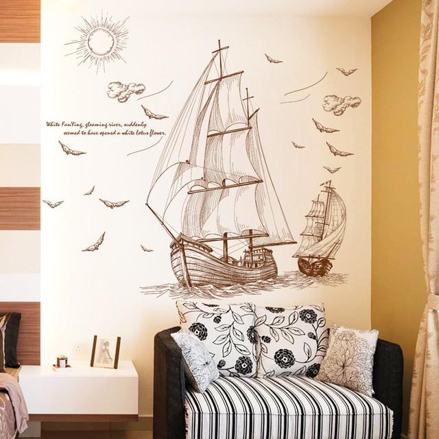 Barca a vela Wall Stickers soggiorno TV Decorazione Della Parete ...