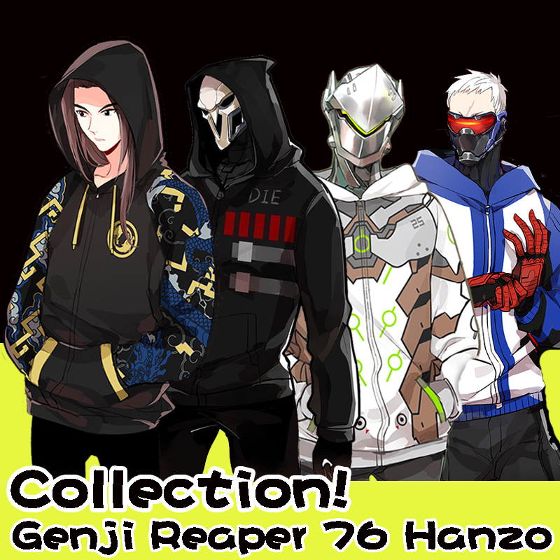 Collection! Game OW Genji Reaper 76 Hanzo 4 figures Fleece Hoodie Jacket Sweat Cosplay Coat S-2XL