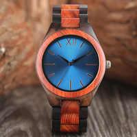 Men's Creative Full Wooden Watch Luxury Black/Sapphire Blue Luster Dial Bamboo Wood Quartz-watch Casual Sport Clock Reloj Hombre
