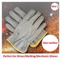 New Size L Cow Leather Driver Gloves Welding Gloves Work Safety Hands Protection For Riding Repairing Carring Driving Gloves
