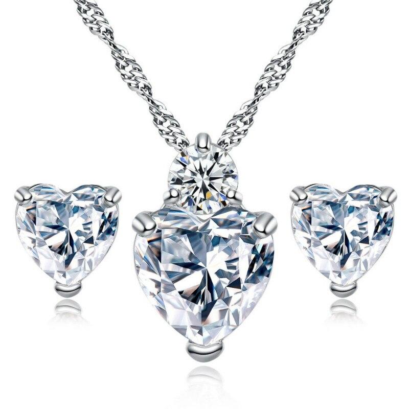 Elegant Heart Shape Austrial Crystal Stud Earrings Necklace Wedding Jewelry Sets Women ZK40 MM12122