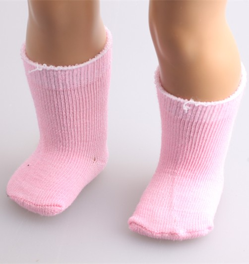 18 Inch Doll Socks, 1Pair Set Fits American  Doll Clothes & More,   Pink Color Sock  B511