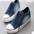 Free Shipping 2016 New Canvas Shoes Fashion Leisure Women Shoes Female Casual Shoes Jeans Blue 35-40