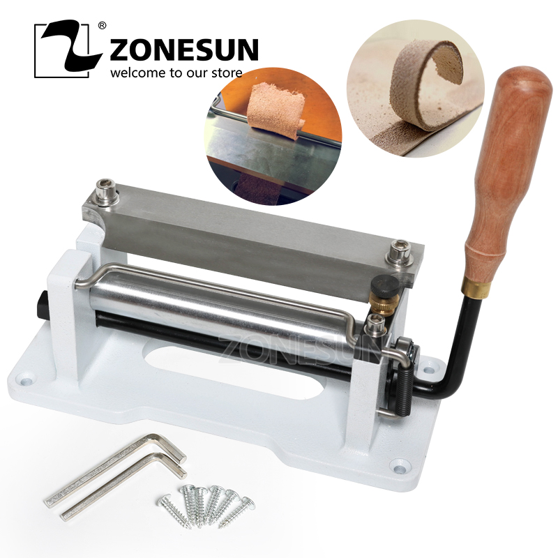 ZONESUN 6 inch Manual Leather DIY Skiving Machine Paring Machine Leather Skiver Leather Peeler Splitter Leather Cutter
