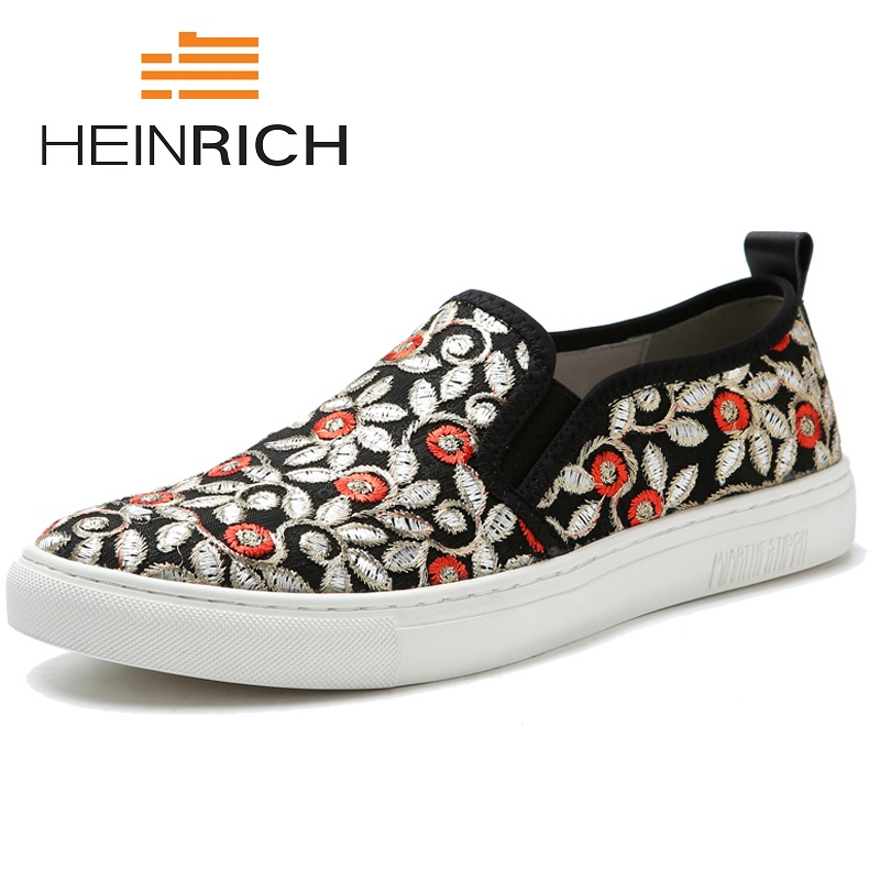 HEINRICH 2018 Spring Autumn Fashion Personality Loafers Men Shoes Embroidery Slip On Breathable Flats Shoes Men Casual Tide ShoeHEINRICH 2018 Spring Autumn Fashion Personality Loafers Men Shoes Embroidery Slip On Breathable Flats Shoes Men Casual Tide Shoe