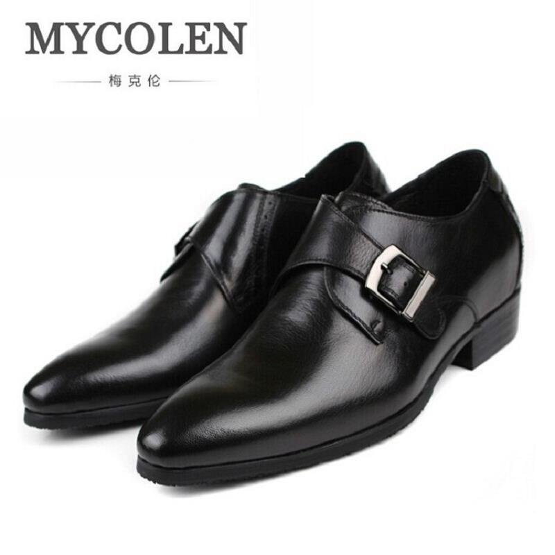 MYCOLEN Breathable Flats Buckle Strap Wedding Party Genuine Leather Men Pointed Toe Dress Shoes Autumn Classic Men's Shoes pjcmg spring autumn men s genuine leather pointed toe slip on flats dress oxfords business office wedding for men flats shoes