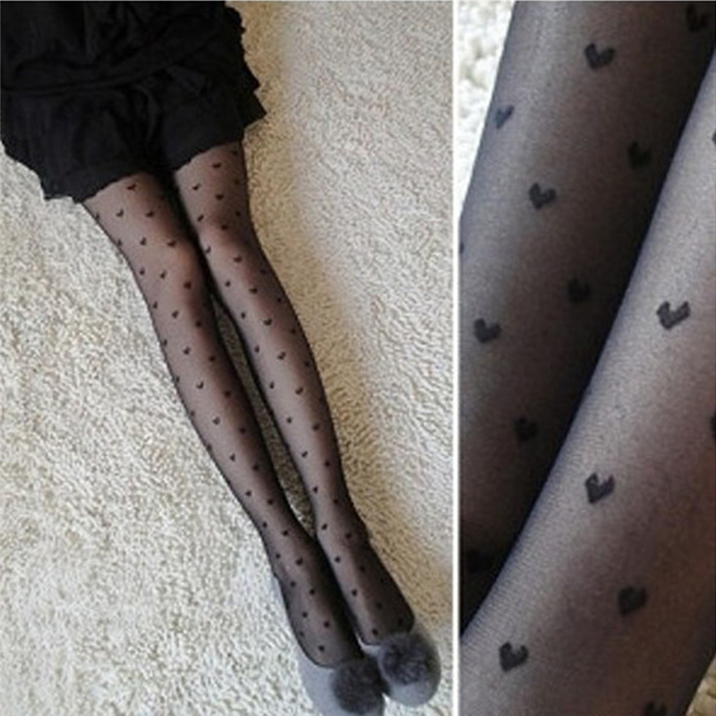 2019 New Women Tights Black Dots Heart Pattern Whole Seamless Sexy Tights Female Ladies Thin Summer Tights Fashion