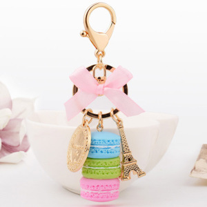 Hot Selling Charm France Laduree Macarons Keychain Effiel Tower Lover Christmas Keying Gifts For Girl