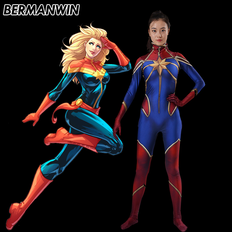 BERMANWIN High Quality 3D Print Ms Marvel Costume Captain Marvel Costume Carol Danvers Spandex Superhero Suit Halloween Costume