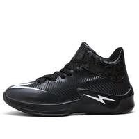 Tênis de basquete masculino relâmpago tendência sapatos esportivos wearable botas à prova de choque