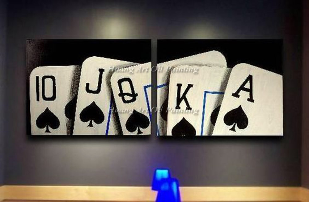 New Hand Painted Poker Oil Painting On Canvas Modern