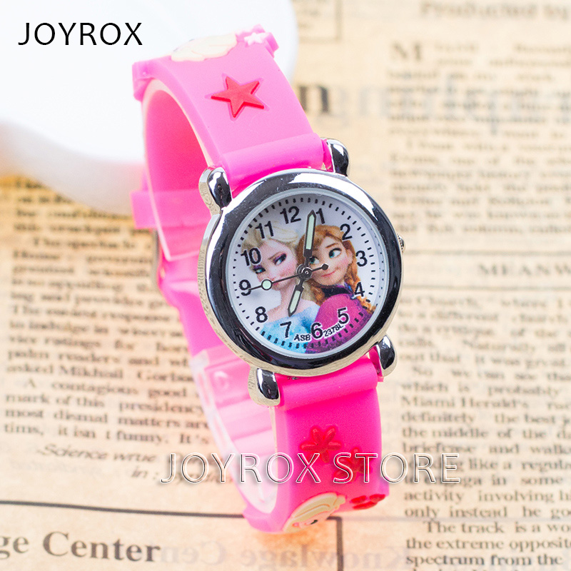 JOYROX High Quality Princess Elsa Children's Sports Watch 2017 Hot Rubber Strap Girls Quartz Wristwatch for Kids Cartoon Clock joyrox minions pattern children watch 2017 hot despicable me cartoon leather strap quartz wristwatch boys girls kids clock