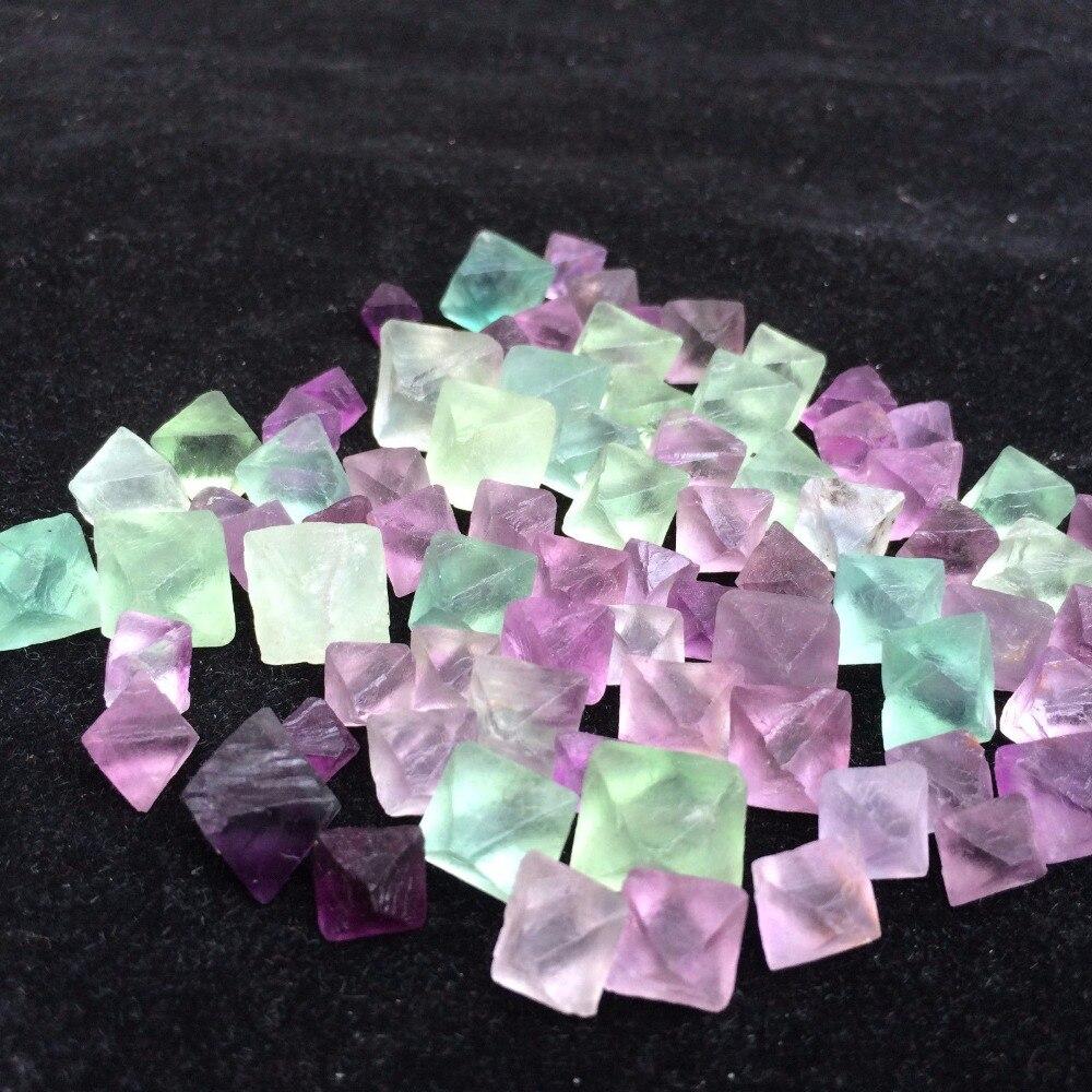 50G Beautiful Purple Green Flourite Octahedron Flourite TRANSLUCENT CRYSTALS Tumbled Stone HEALING