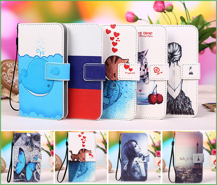For Lumia 535 <font><b>Case</b></font> Cartoon Pattern Card Holder Leather Wallet Flip Cover <font><b>Case</b></font> For Microsoft Lumia 535 <font><b>Phone</b></font> bags + Tracking no