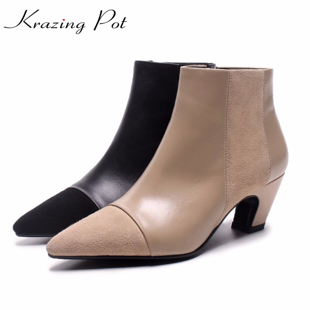 Krazing Pot full grain leather sheep suede strange heel street fashion pointed toe winter boots warm mixed color ankle boots L11 round toe korean version womens booties ankle block high heel princess full grain leather boots winter geometric mixed colors