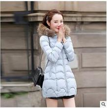 2017 осень и зима женщины нью-Корейской версии длинный участок большой воротник воротник хлопок утолщение Тонкий большой размер