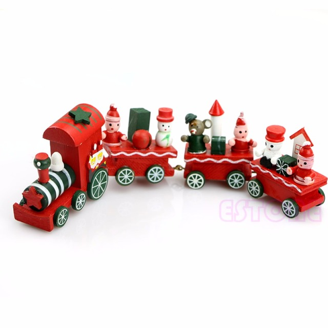 Charming Lovely 4 Piece Wooden Christmas Santa Tree Train Toy for Kids