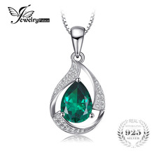 2.5ct Classic Green Nano Russian Emerald Pendant Necklaces Solid 925 Sterling Silver Fashion Women Jewelry For Engagement Gift