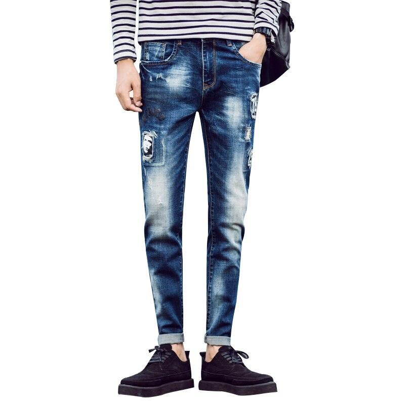 New Arrival Men Jeans Skinny Slim Fit Pencil Pants Casual jeans homme Letter Pattern Vintage Blue Mens Jeans Trousers Size 28-36