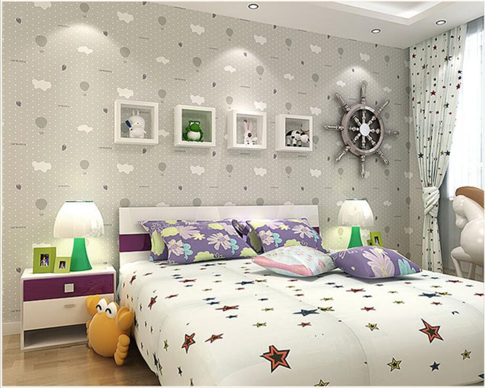 Beibehang Modern Decorative 3D Wallpaper Children Bedroom Wallpaper Roll Warmer Bedroom wallpaper for walls 3 d papel de parede beibehang wallpaper green environmental protection solid color gray blue hotel hotel background wallpaper 3 d papel de parede
