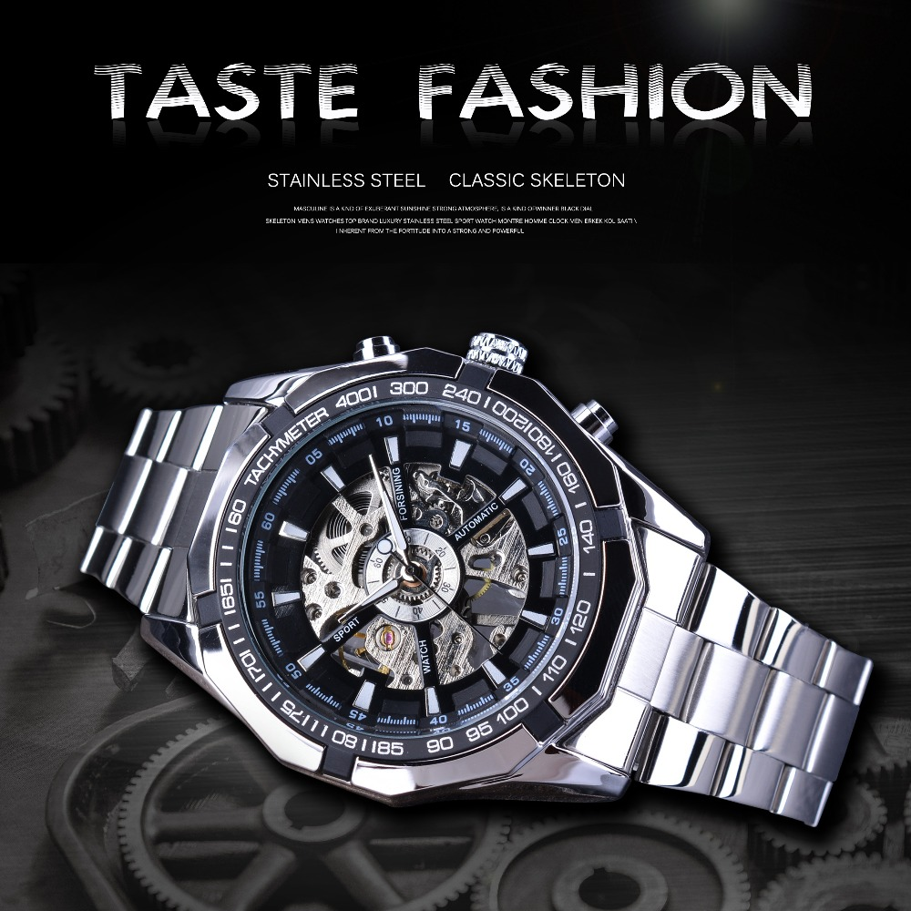 Watches ... Men's Watches ... 32822051169 ... 2 ... Forsining 2017 Silver Stainless Steel Waterproof Mens Skeleton Watches Top Brand Luxury Transparent Mechanical Male Wrist Watch ...