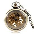 Fob Mechanical Pocket Watch Classic Bronze Copper Hand Winding Vintage Steampunk Nursing Clock Open Face Men Women Pendant Chain