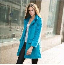 New Winter Leopard Faux Fur Coat Women'S Fashion Long Rabbit Fur Trench Coat Outwears Plus Size 5 Colors Free Shipping H3197