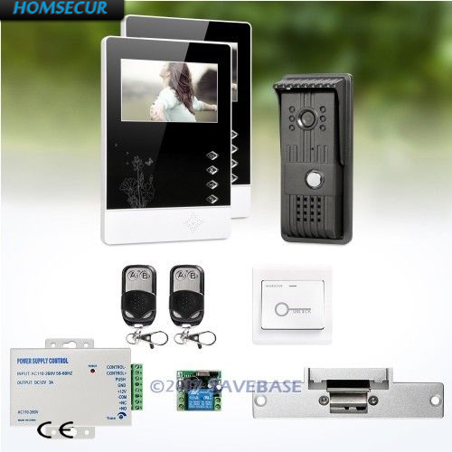 HOMSECUR 1V2 4.3 Wired Video Door Entry Security Intercom with One Button Unlock for Home Security + Strike Lock