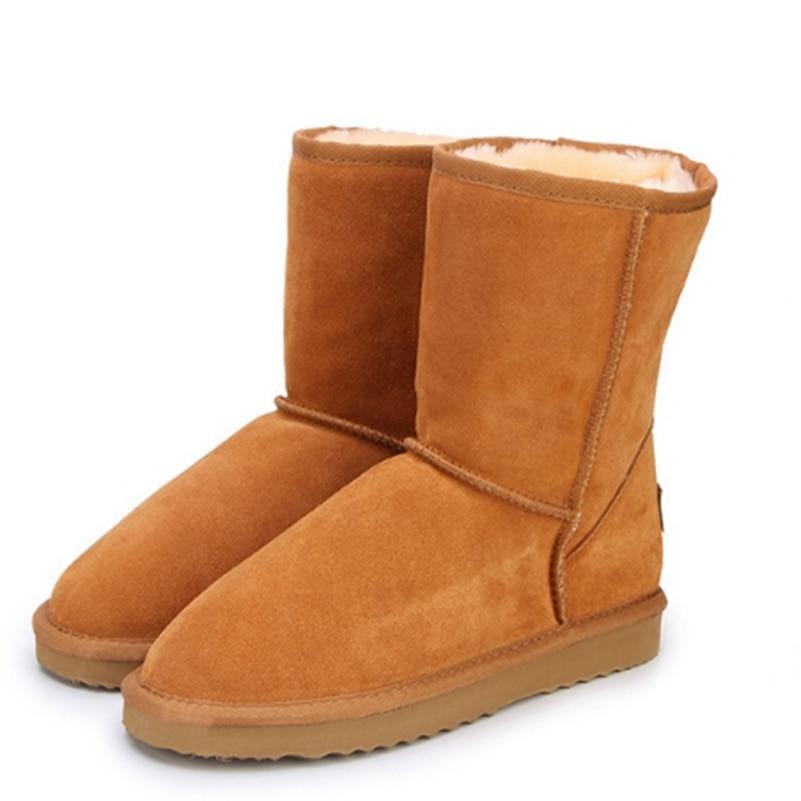 Cuero genuino del zurriago botas de nieve mujeres botas calientes invierno amantes zapatos
