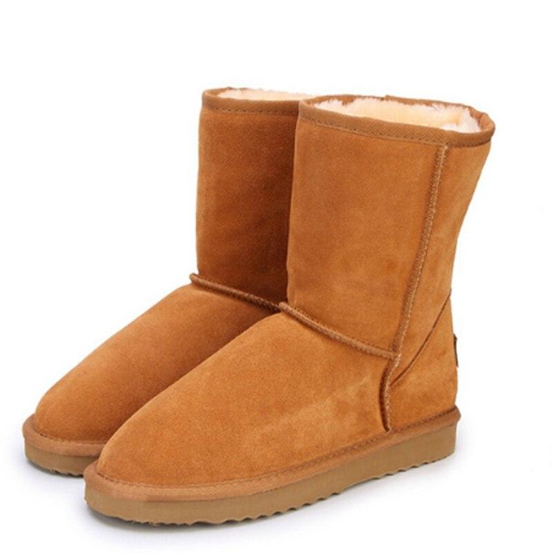 Echtem rindsleder schnee stiefel großer junge und mädchen Stiefel Warme winter schuhe